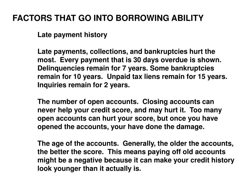 FACTORS THAT GO INTO BORROWING ABILITY