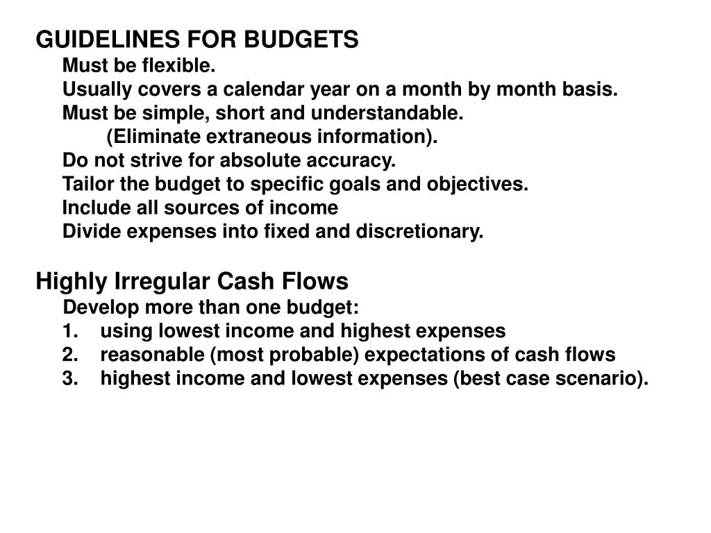 GUIDELINES FOR BUDGETS
