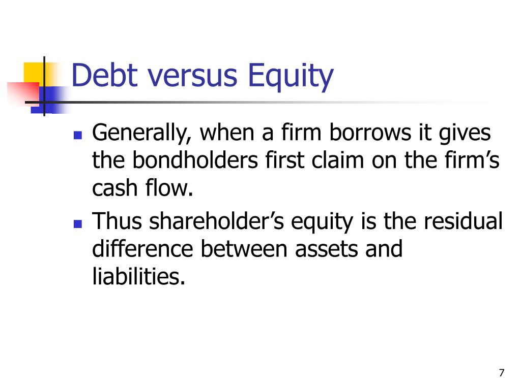 Debt versus Equity