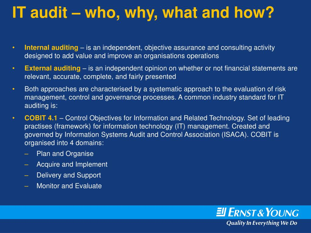 IT audit – who, why, what and how?