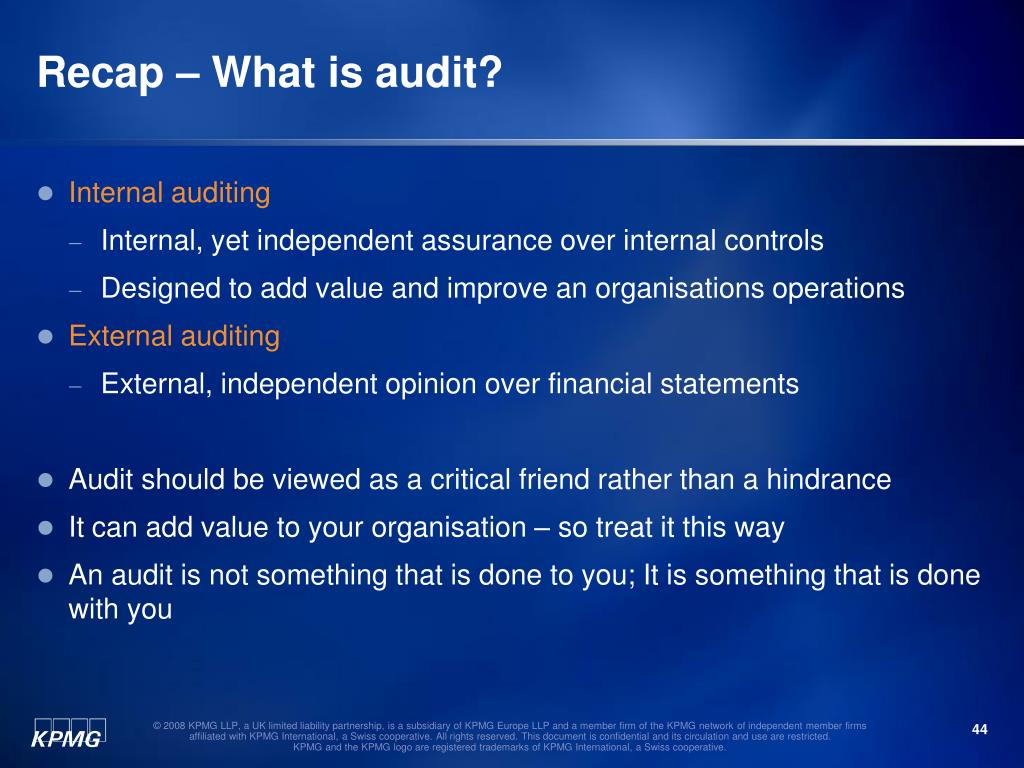 Recap – What is audit?