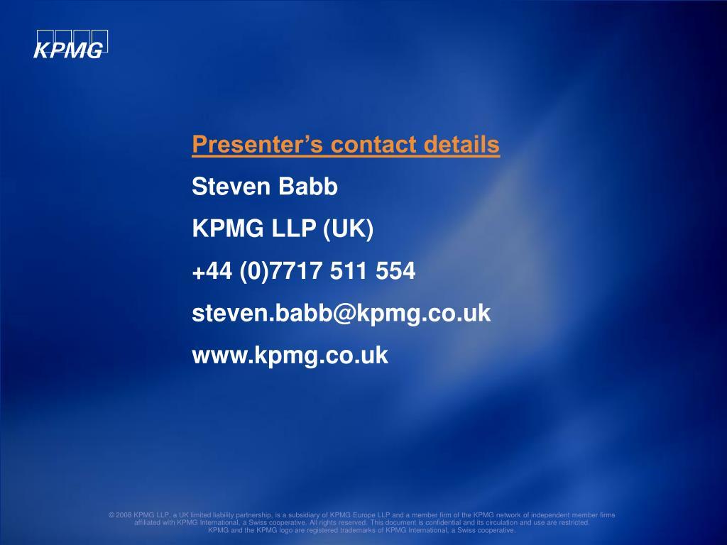 Presenter's contact details