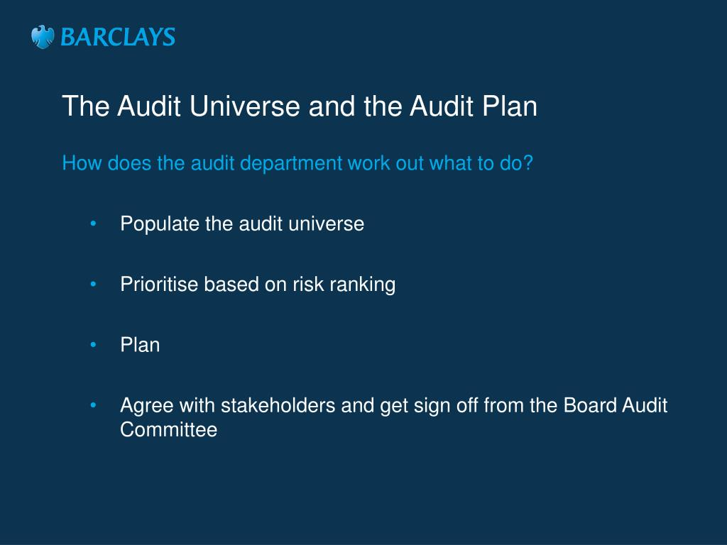 The Audit Universe and the Audit Plan