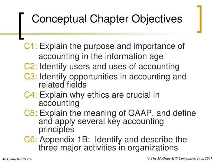Conceptual chapter objectives