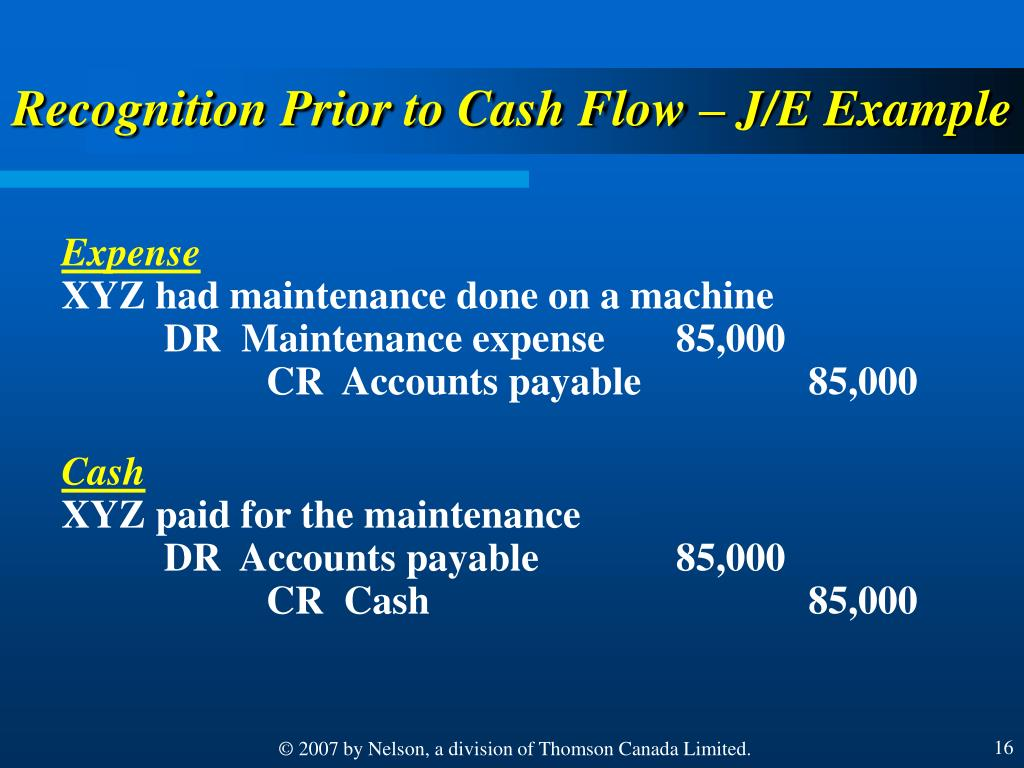 Recognition Prior to Cash Flow – J/E Example