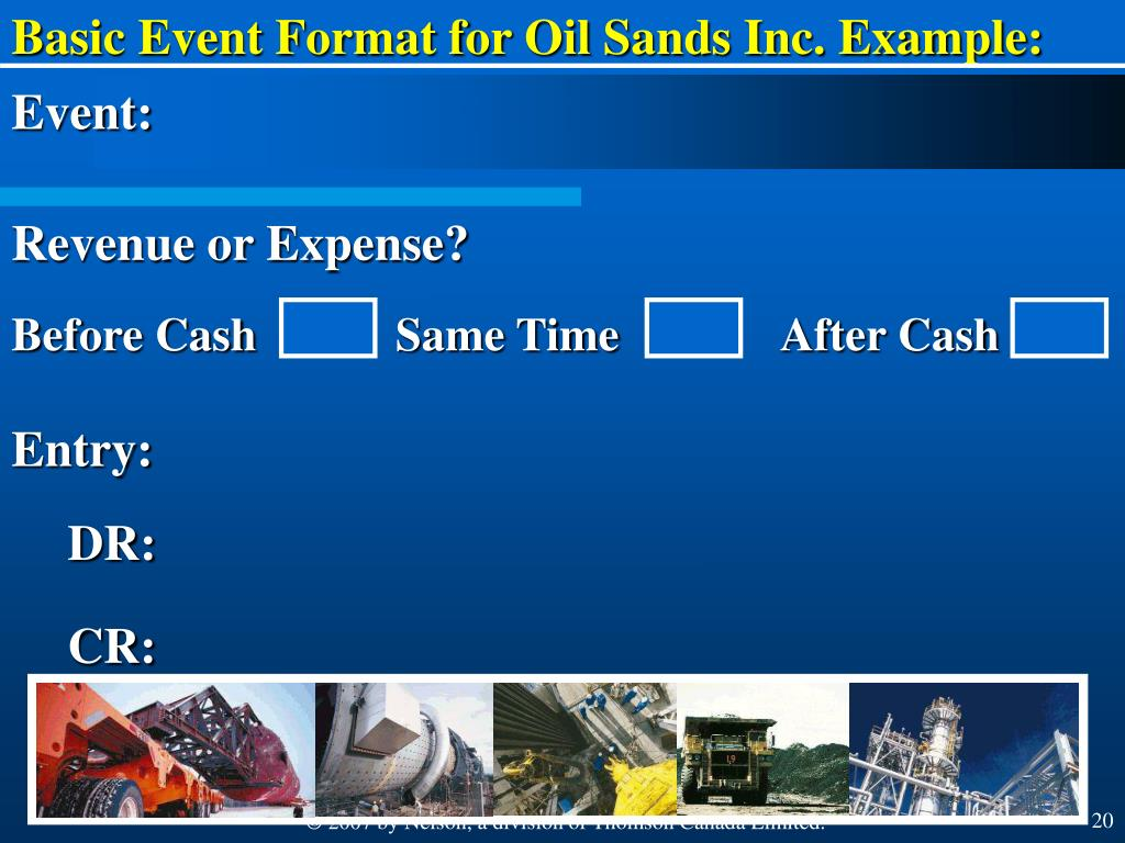 Basic Event Format for Oil Sands Inc. Example: