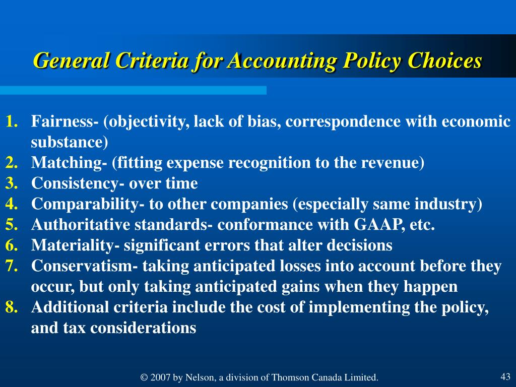 General Criteria for Accounting Policy Choices