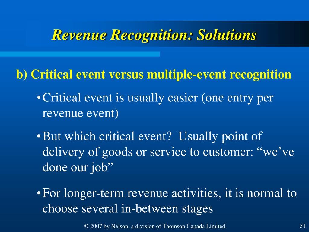 Revenue Recognition: Solutions