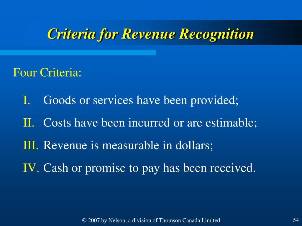 Criteria for Revenue Recognition
