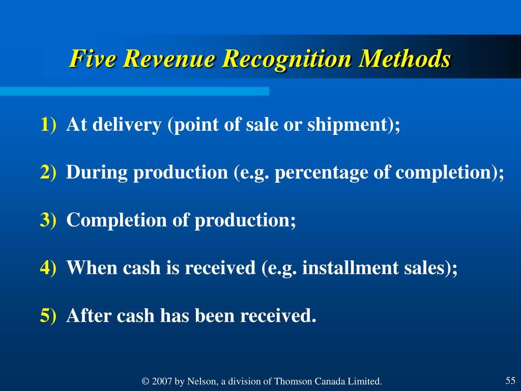 Five Revenue Recognition Methods