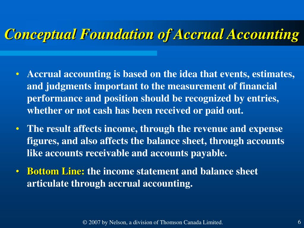 Conceptual Foundation of Accrual Accounting