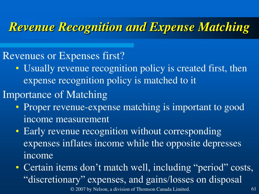 Revenue Recognition and Expense Matching
