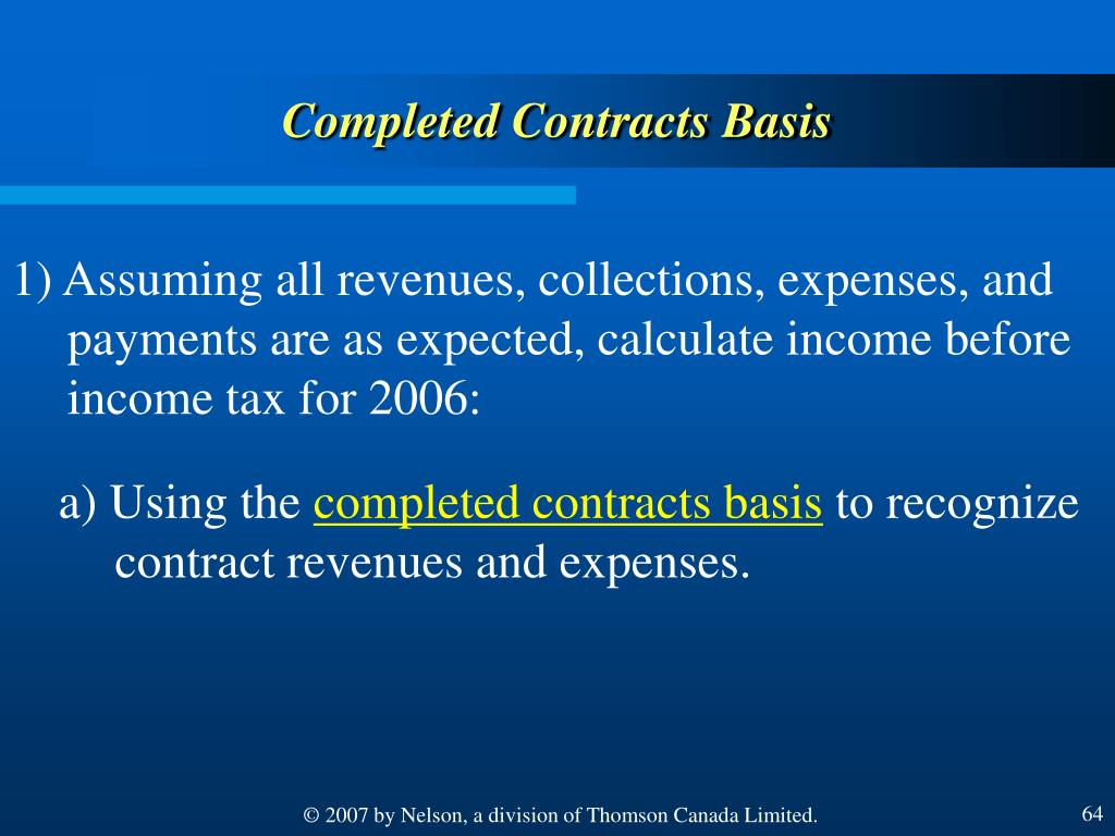 Completed Contracts Basis