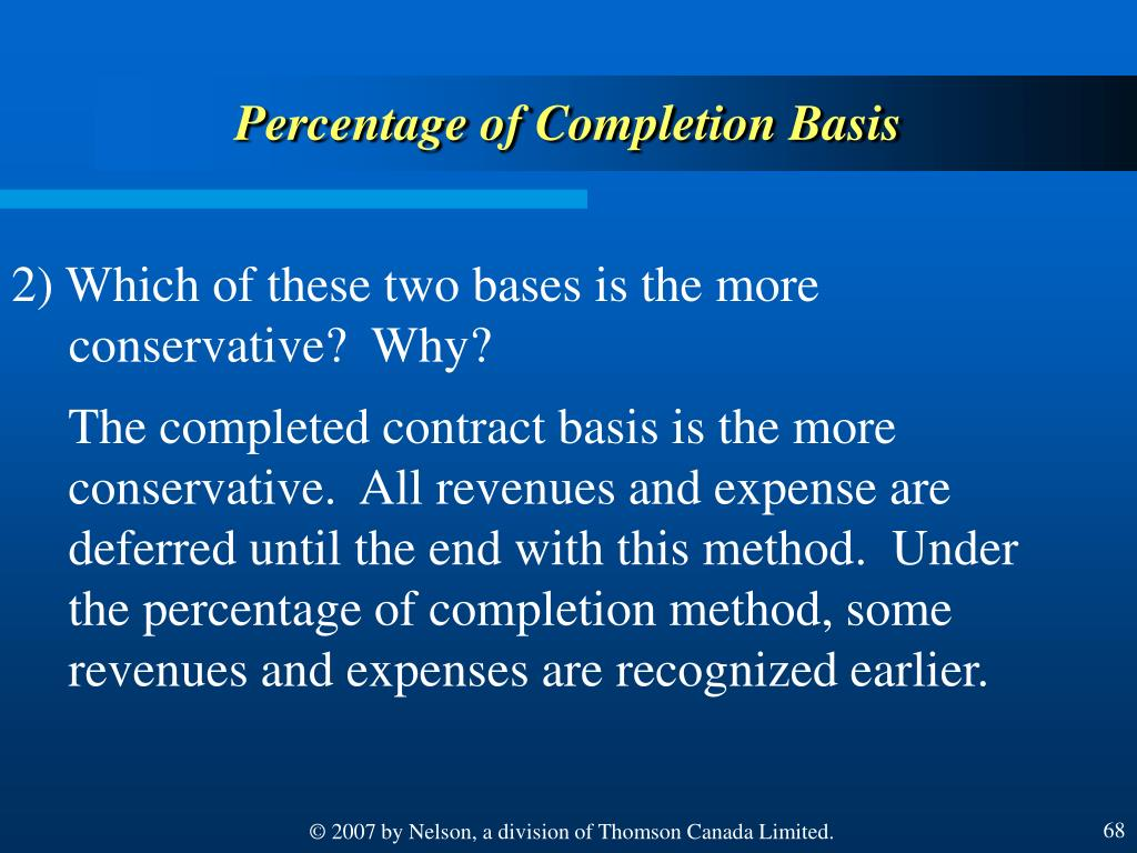 Percentage of Completion Basis