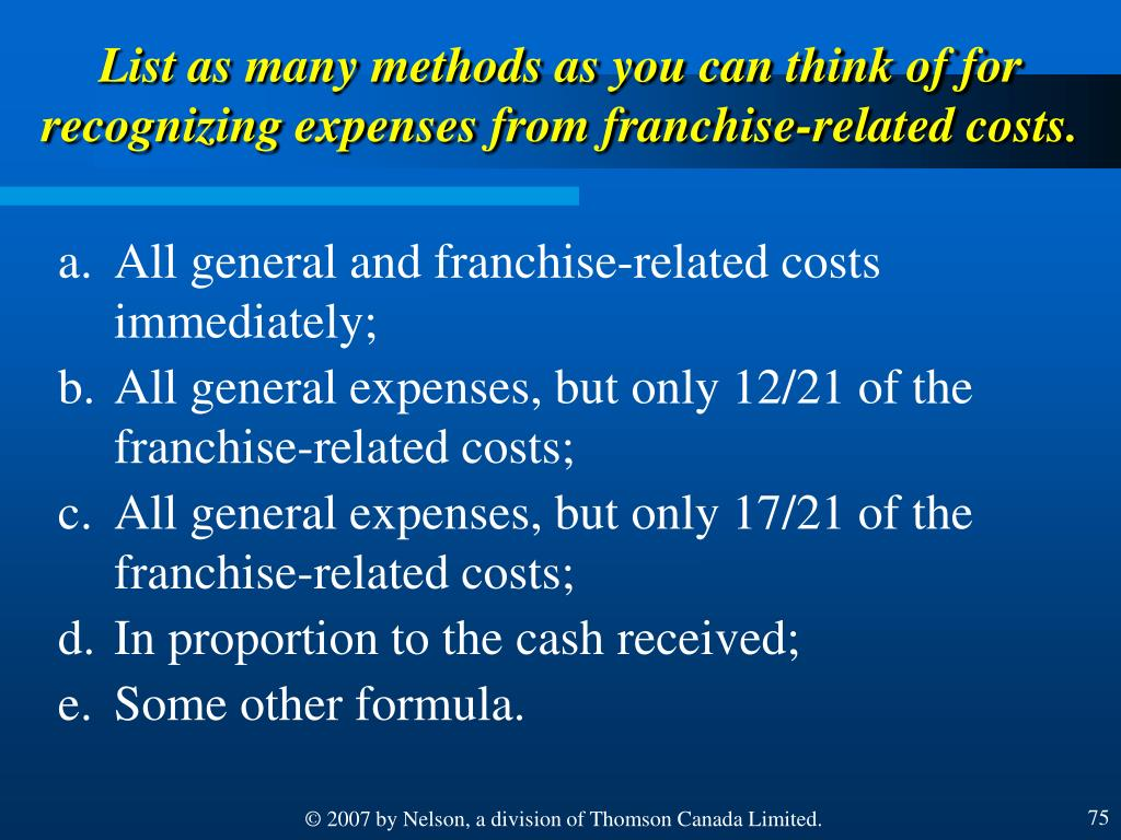 List as many methods as you can think of for recognizing expenses from franchise-related costs.