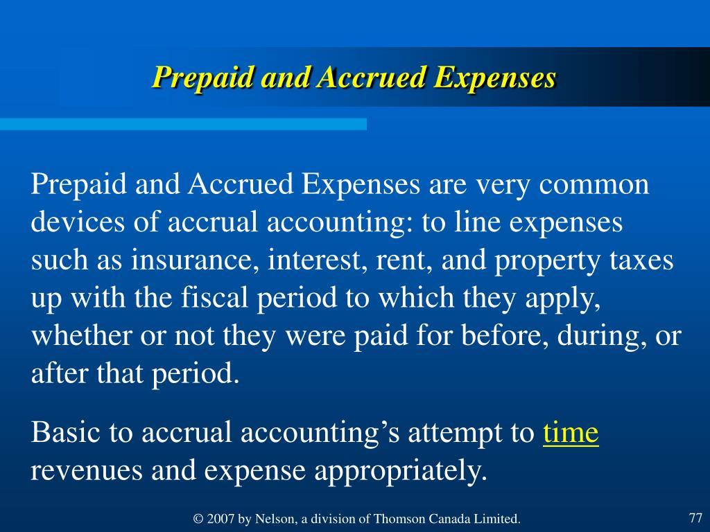 Prepaid and Accrued Expenses