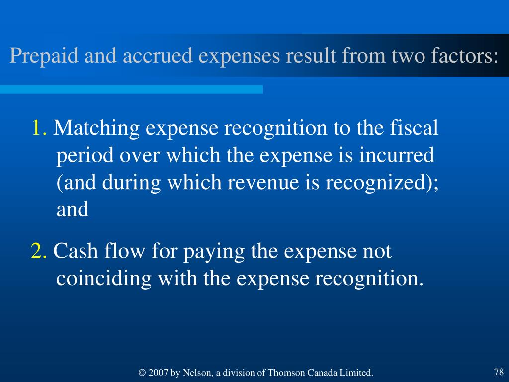 Prepaid and accrued expenses result from two factors: