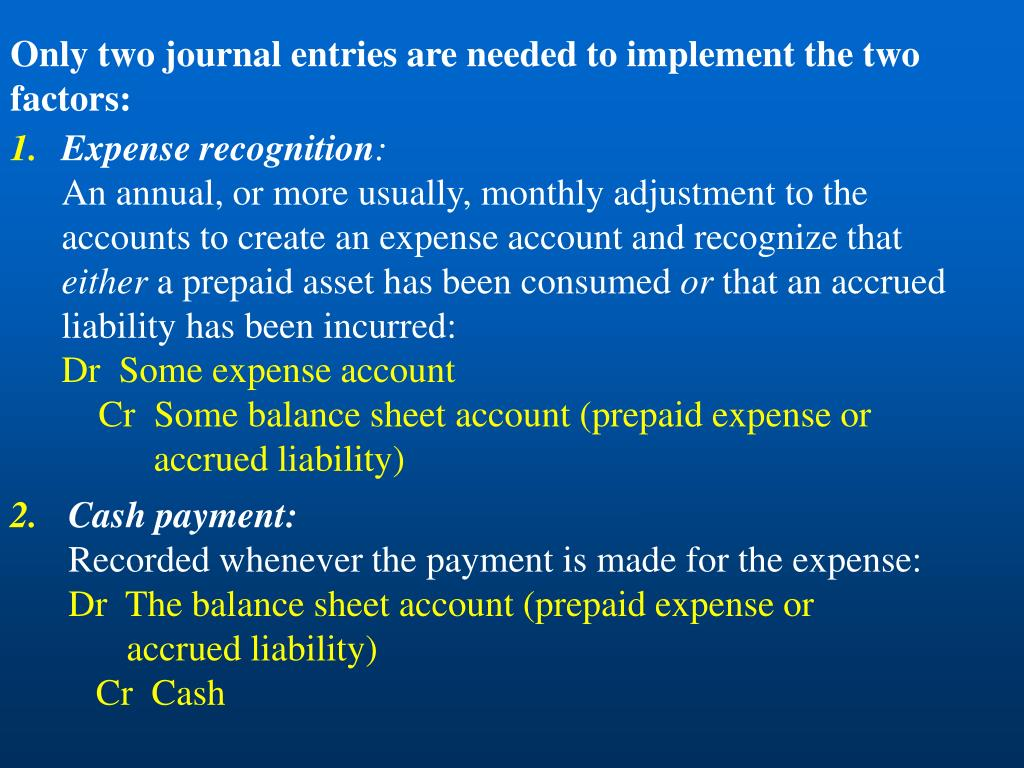 Only two journal entries are needed to implement the two factors: