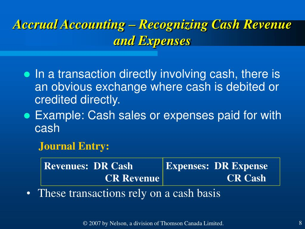 Accrual Accounting – Recognizing Cash Revenue and Expenses