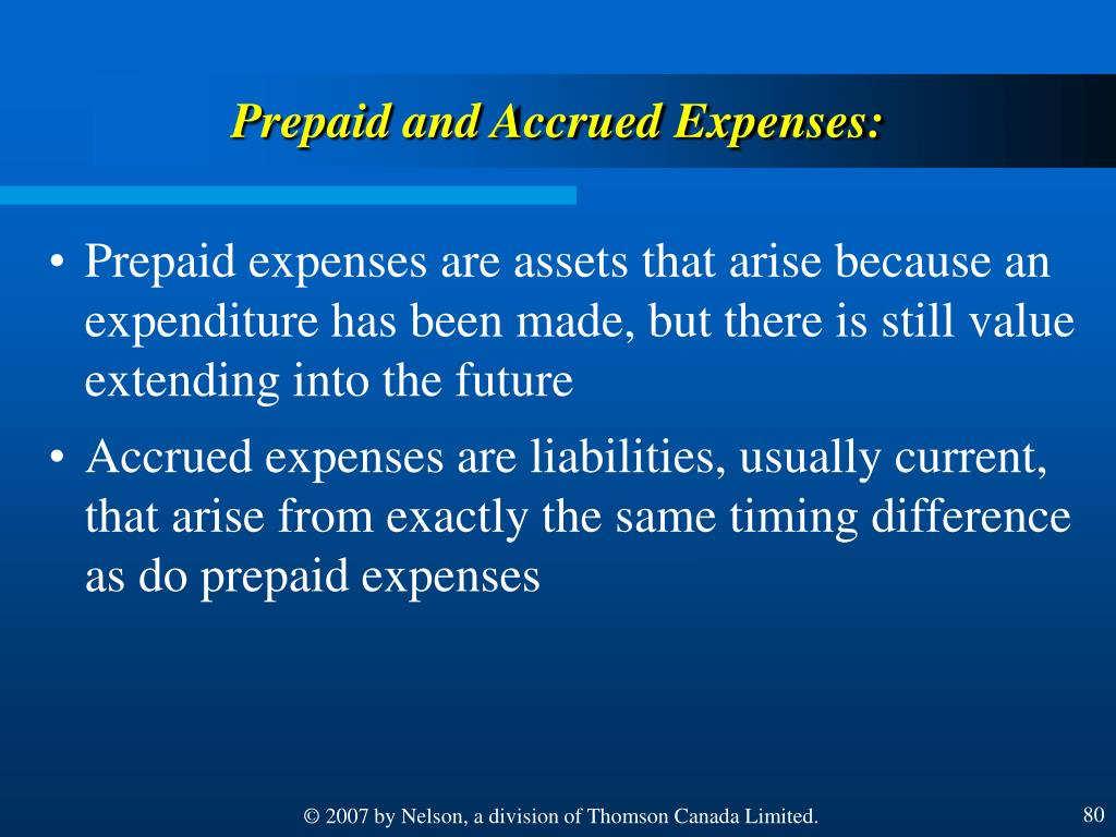 Prepaid and Accrued Expenses: