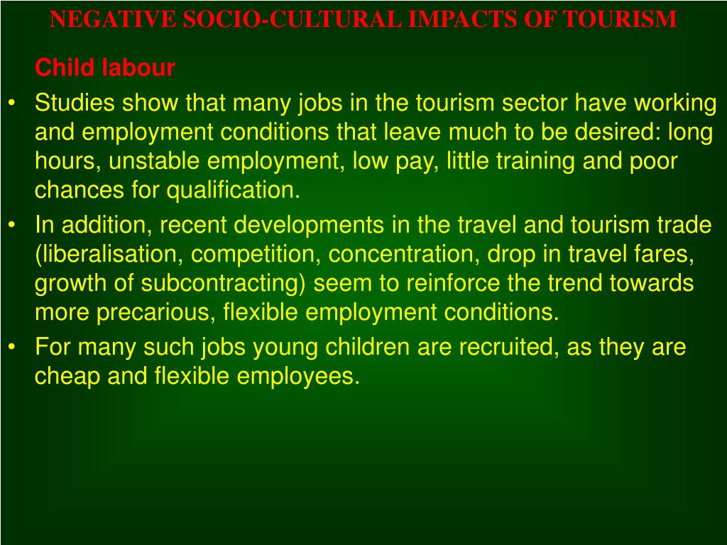 the negative impacts of sex tourism What are the negative/positive impacts in of tourism in the philippines has tourism in phuket thailand had a negative or positive impact upon the environment or the culture if your partner ask you for space would this have a negetive impact or positive on you be nice nowlol.