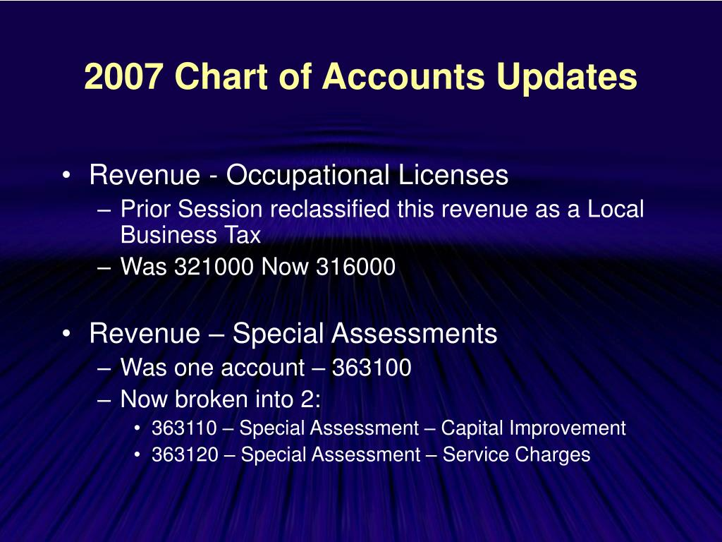 2007 Chart of Accounts Updates