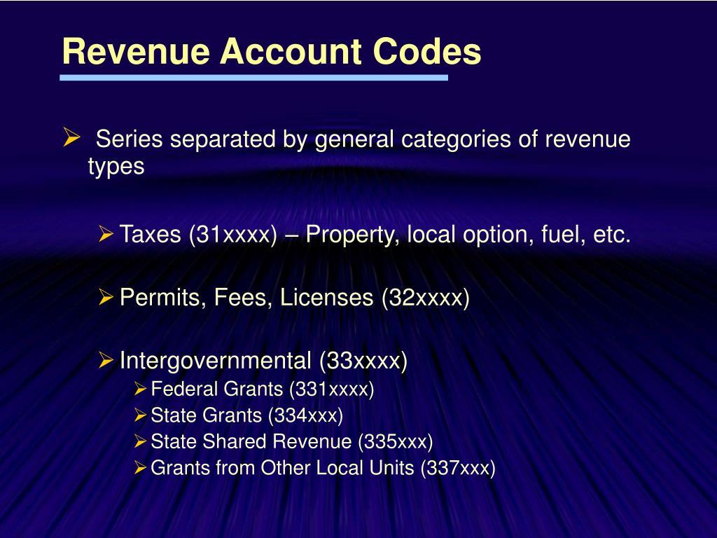 Revenue Account Codes