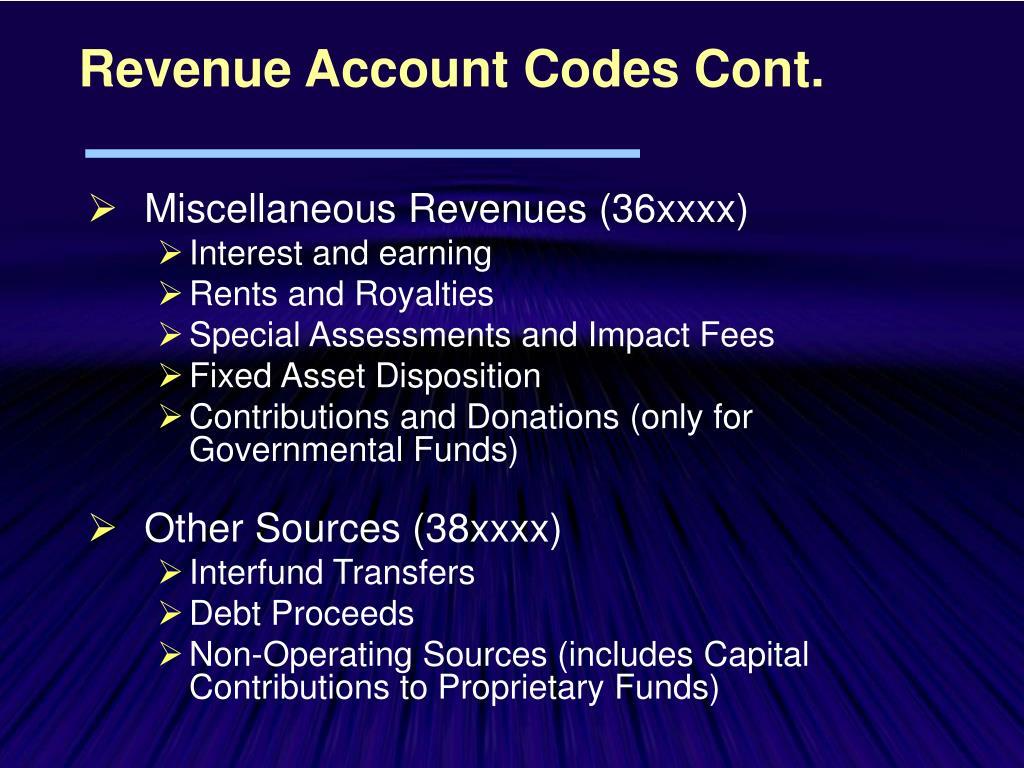 Revenue Account Codes Cont.