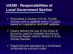 uasm responsibilities of local government section