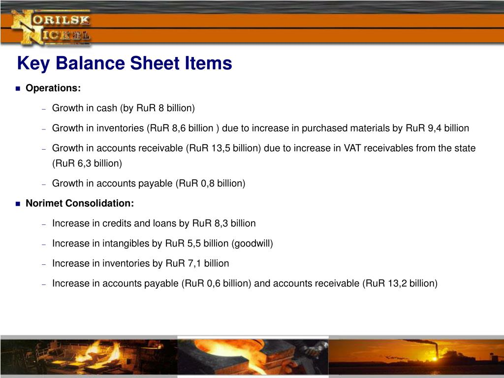 Key Balance Sheet Items