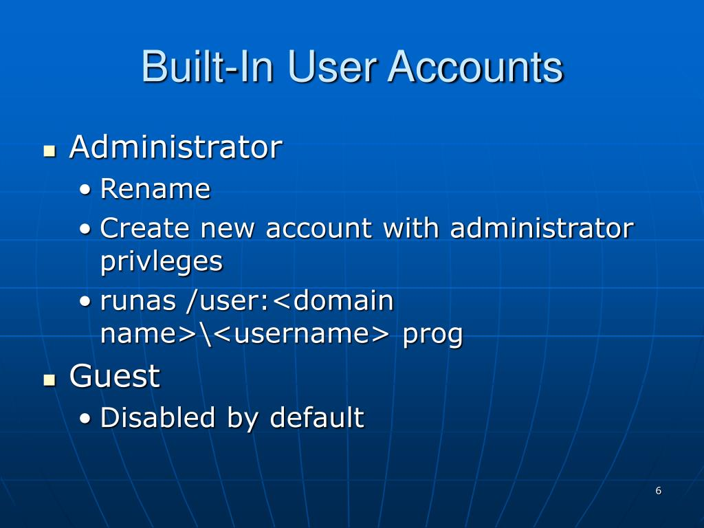 Built-In User Accounts
