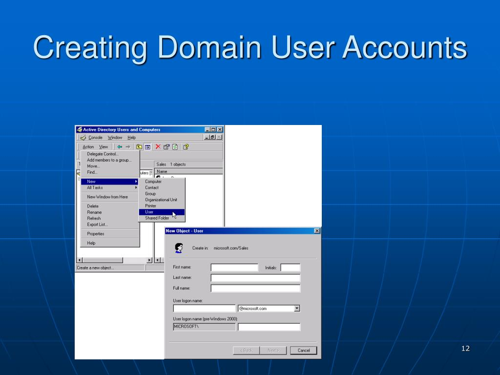 Creating Domain User Accounts