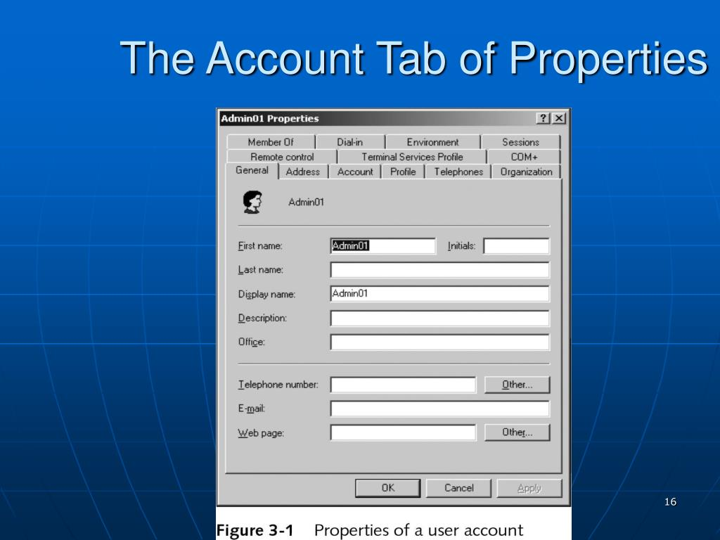 The Account Tab of Properties