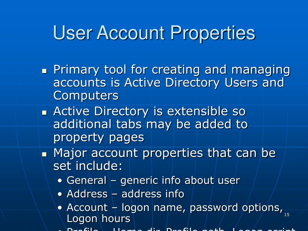 User Account Properties