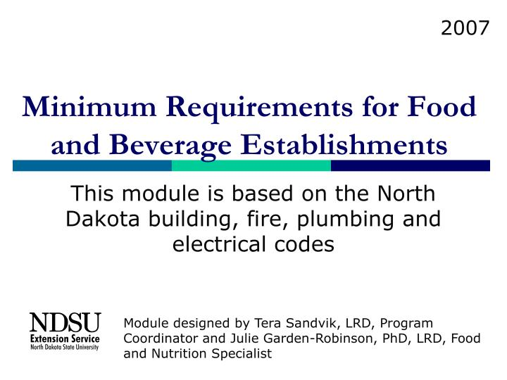 Minimum requirements for food and beverage establishments l.jpg