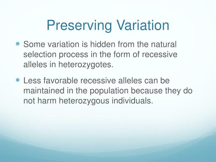 Preserving Variation