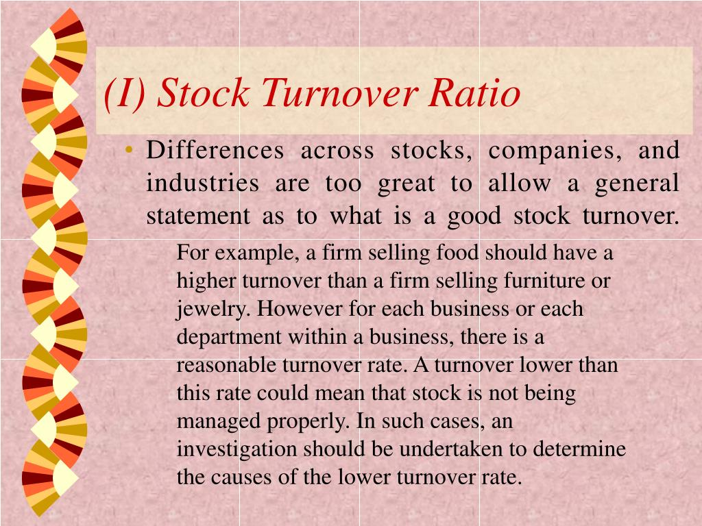 (I) Stock Turnover Ratio