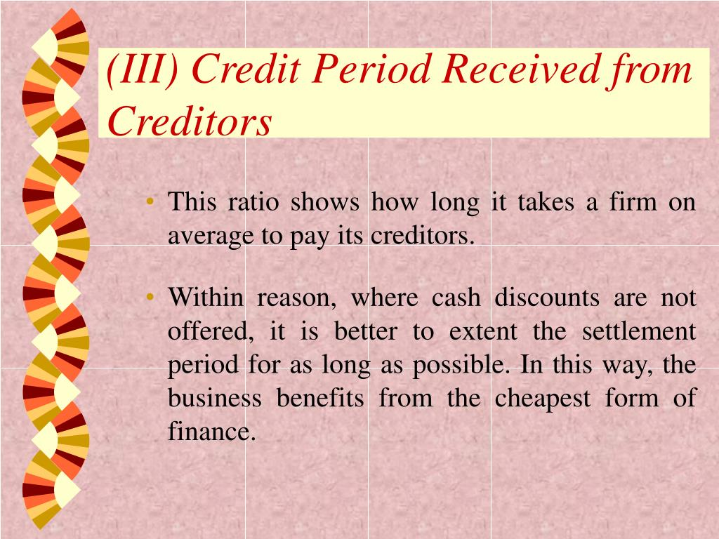 (III) Credit Period Received from Creditors