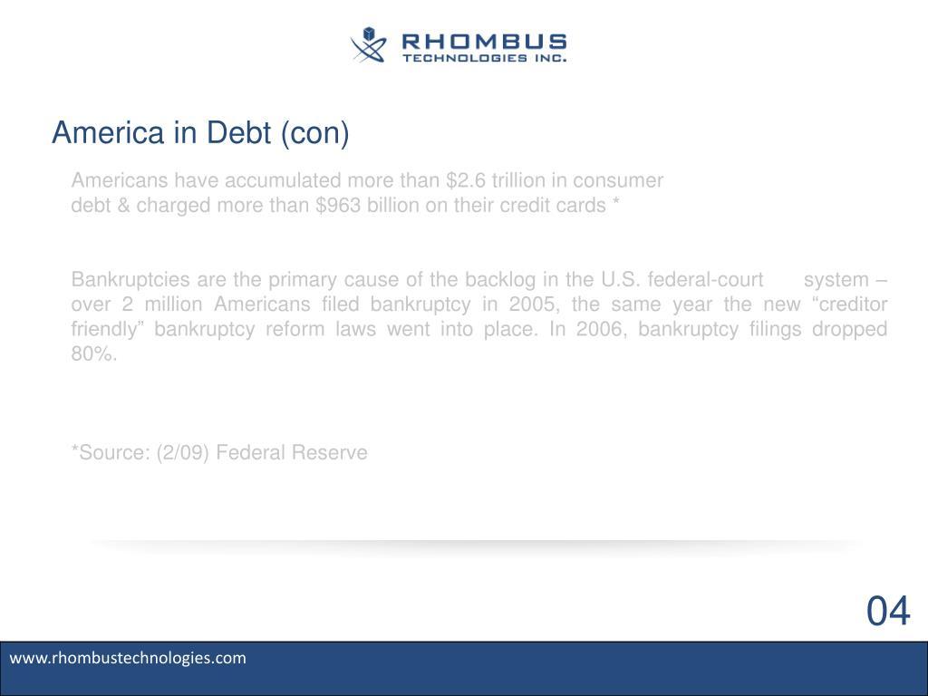America in Debt (con)