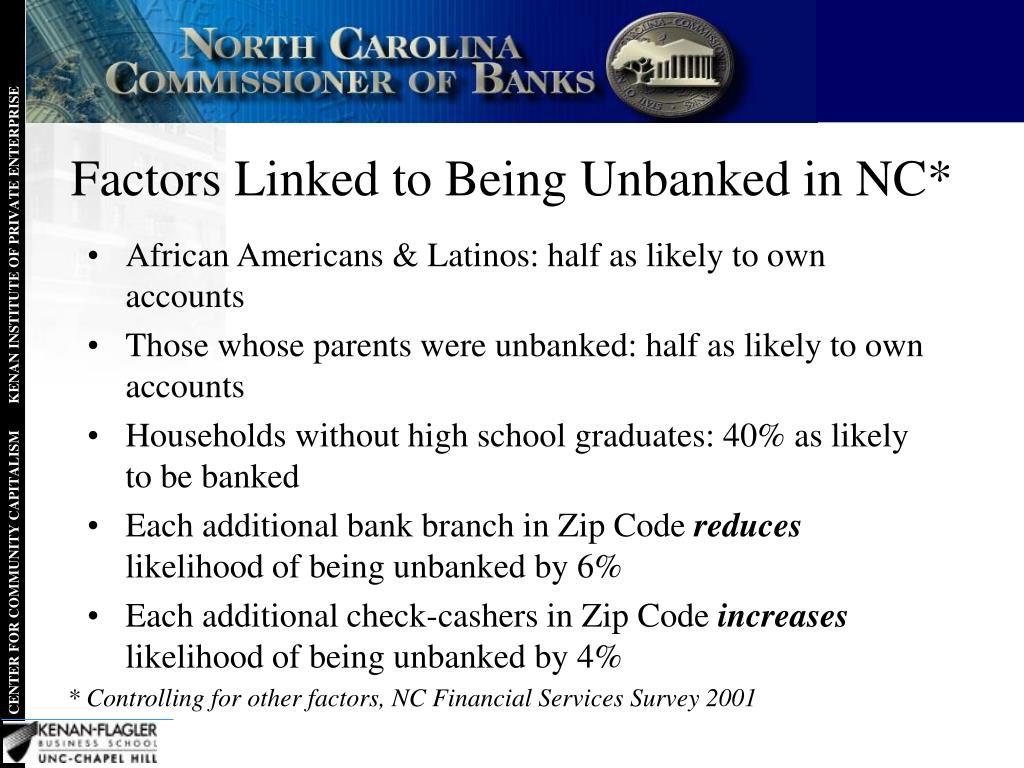 Factors Linked to Being Unbanked in NC*