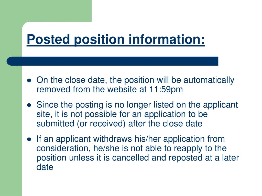 Posted position information: