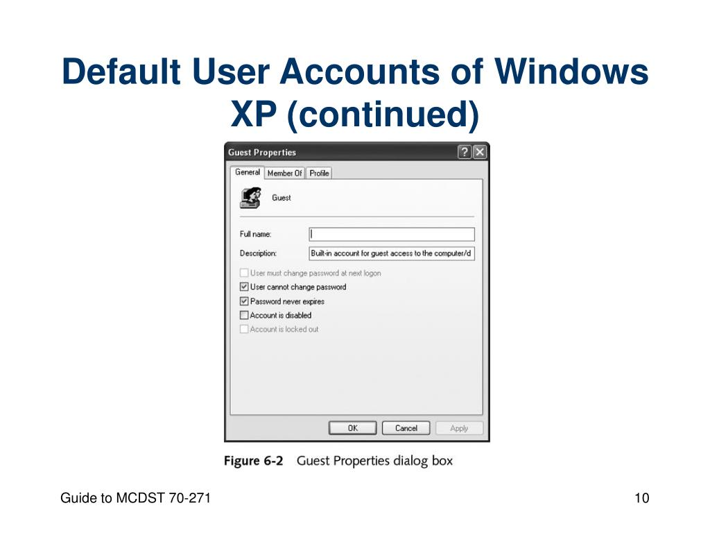 Default User Accounts of Windows XP (continued)