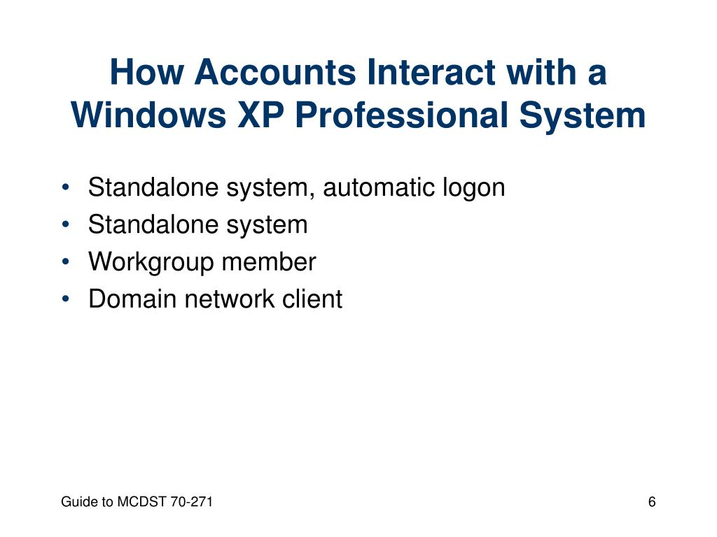 How Accounts Interact with a Windows XP Professional System