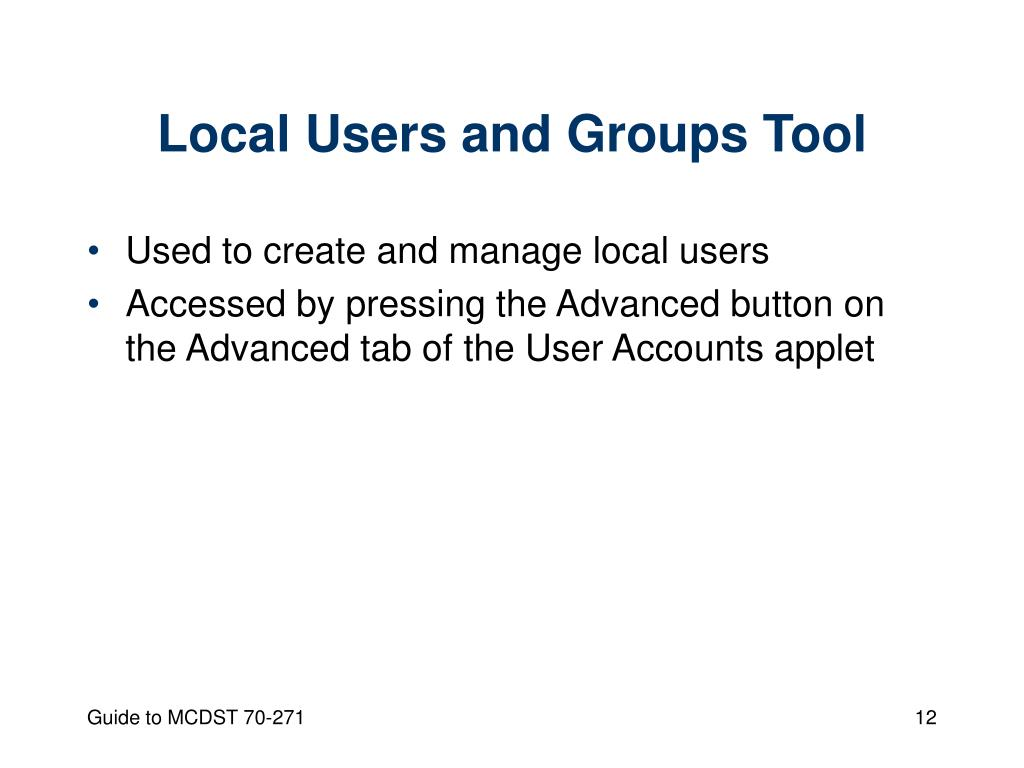 Local Users and Groups Tool