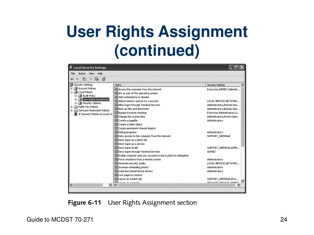 User Rights Assignment (continued)