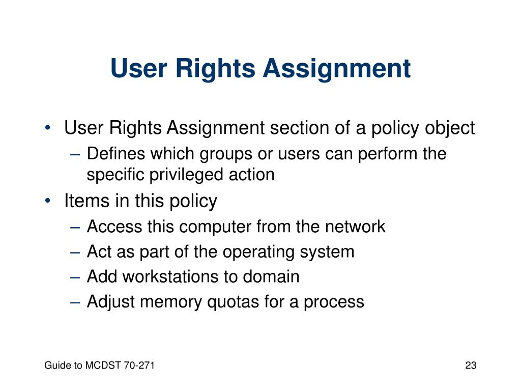 User Rights Assignment