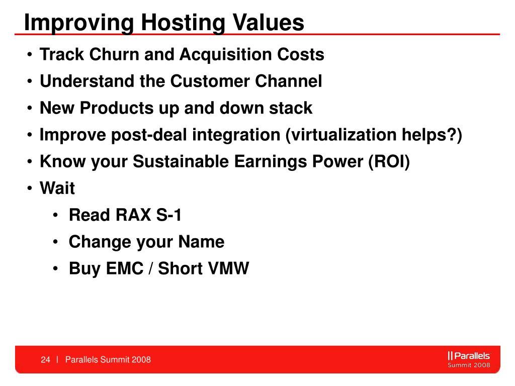 Improving Hosting Values