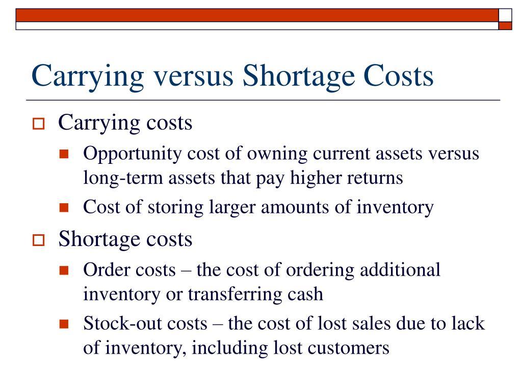 Carrying versus Shortage Costs