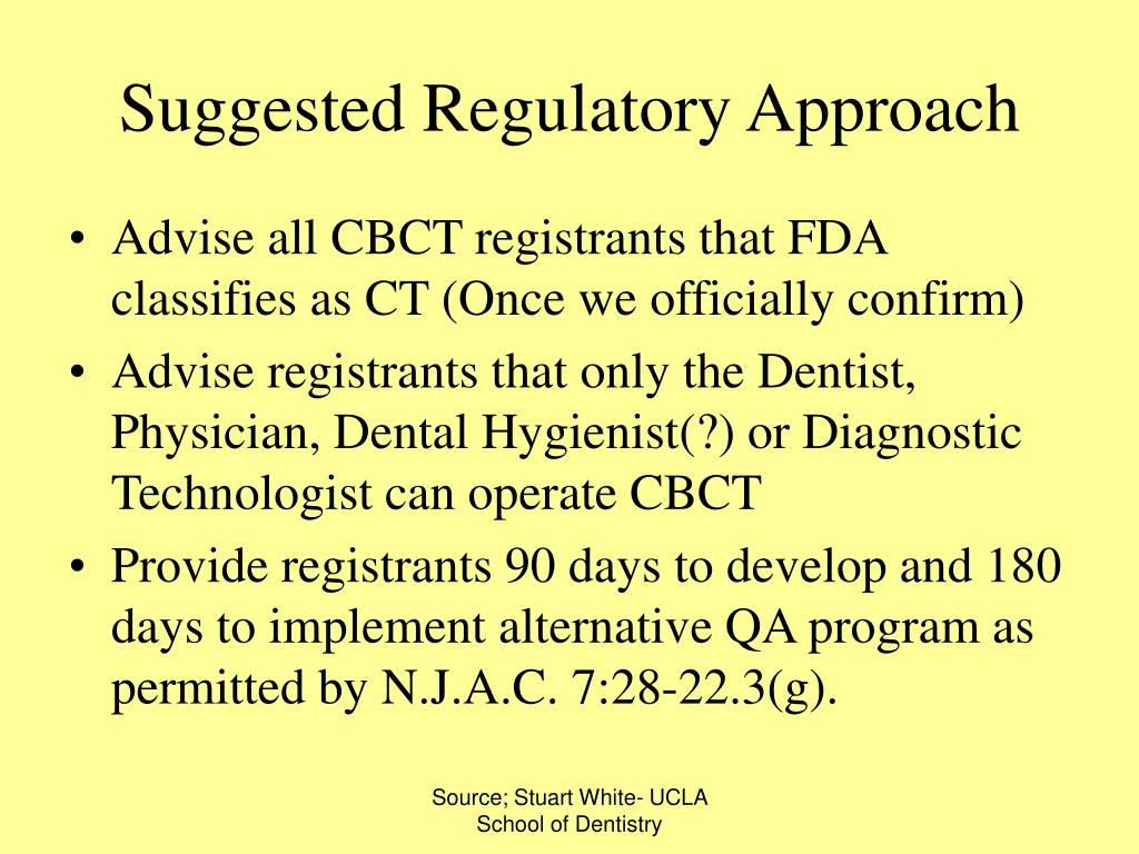 Suggested Regulatory Approach
