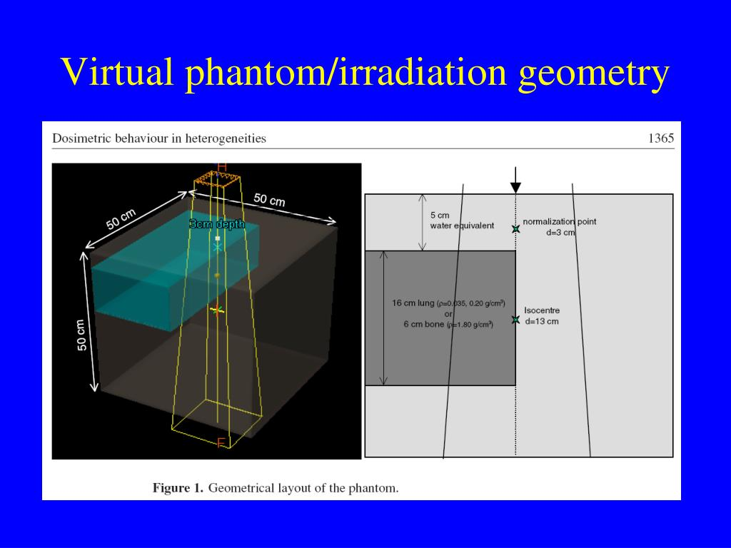 Virtual phantom/irradiation geometry